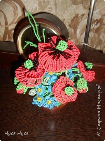 Цветы из бисера (Маки) фото 1