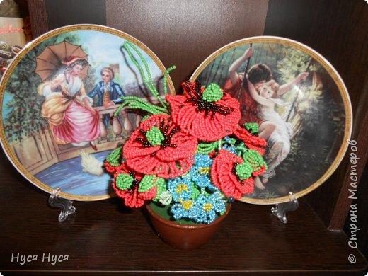 Цветы из бисера (Маки) фото 2