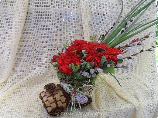 """композиция из живых цветов в флористической сумке """"Радость жизни"""" фото 5"""