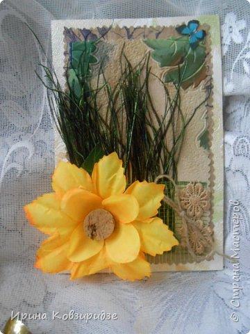 Сделала 4 открытки из остатков срапбумаги, остатков красивых обоев (бумага есть бумага), наклеек, кружев и перьев, и т.д. фото 2