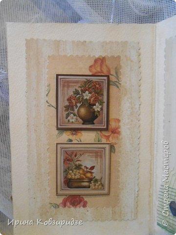 Сделала 4 открытки из остатков срапбумаги, остатков красивых обоев (бумага есть бумага), наклеек, кружев и перьев, и т.д. фото 12
