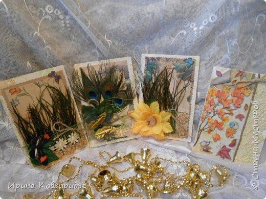 Сделала 4 открытки из остатков срапбумаги, остатков красивых обоев (бумага есть бумага), наклеек, кружев и перьев, и т.д. фото 1