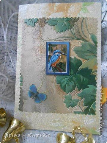 Сделала 4 открытки из остатков срапбумаги, остатков красивых обоев (бумага есть бумага), наклеек, кружев и перьев, и т.д. фото 6