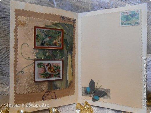 Сделала 4 открытки из остатков срапбумаги, остатков красивых обоев (бумага есть бумага), наклеек, кружев и перьев, и т.д. фото 3