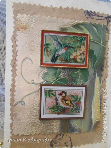 Сделала 4 открытки из остатков срапбумаги, остатков красивых обоев (бумага есть бумага), наклеек, кружев и перьев, и т.д. фото 4