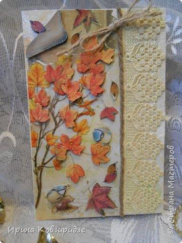 Сделала 4 открытки из остатков срапбумаги, остатков красивых обоев (бумага есть бумага), наклеек, кружев и перьев, и т.д. фото 7