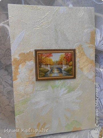 Сделала 4 открытки из остатков срапбумаги, остатков красивых обоев (бумага есть бумага), наклеек, кружев и перьев, и т.д. фото 9