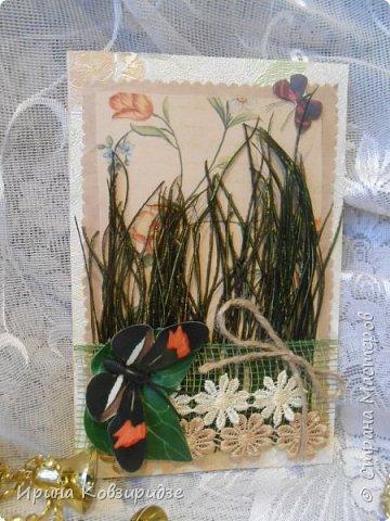Сделала 4 открытки из остатков срапбумаги, остатков красивых обоев (бумага есть бумага), наклеек, кружев и перьев, и т.д. фото 10