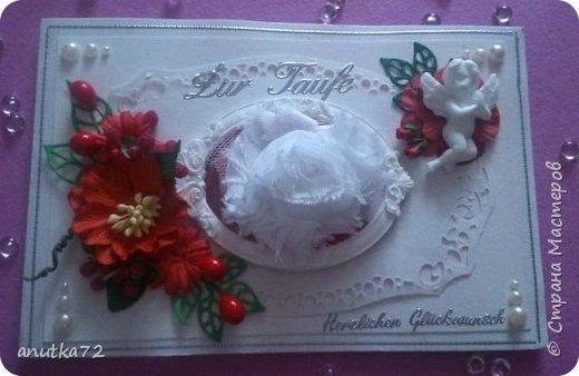 Дочь моя идет на крещение и попросила сделать открытку. Получилось у меня 2 открыточки... Под белым цветочком фотография ребенка фото 1
