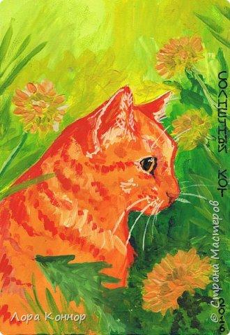 """Добрый день, дорогие жители Страны :) В последнее время я рисую что-то одних котов. Ладно бы хорошие арты, но нет  - всякую ерунду)) Это весенняя аватарка для арт-группы """"Солнечный Кот"""", в которой я обитаю (вот ссылка, если что: http://vk.com/solnechnyy_kot) По быстрому накалякала гуашью: фото 2"""