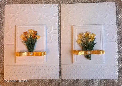 Добрый день жители страны. Хочу всех женщин поздравить с наступающим праздником 8 марта и пожелать вам всегда оставаться женственными, ласковыми, добрыми, нежными, любимыми и любящими. И пусть в душе поёт весна. Ведь весна-это радость вдохновенья.  У меня получилось четыре открытки. На каждой разместился букетик с тюльпанами. фото 3