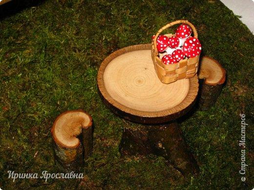 Здравствуйте, друзья! Один прекрасный человечек заказал мне сделать три избушки для своих Бабулек  Ягулек! Но я выставляю две избушки, третья здесь: http://stranamasterov.ru/node/1013013 !:-)  Избушки сделаны из ивовых веточек, крыша из коры сосны, всё задекорировано мхом)  У этой избушки стоит столик для чаепитий, корзиночка с мухоморчиками, звоночик-колокольчик у двери) Вокруг избушки и на ней естественно поганочки).  Размеры избушек примерно одинаковые 30х35 см фото 4