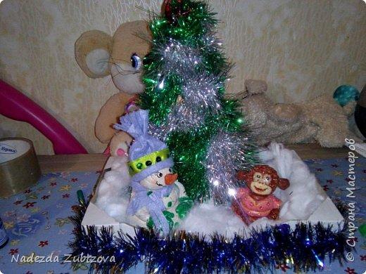 Обезьянка и снеговик из солёного теста)