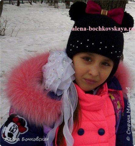 Шапочка связана для моей доченьки в комплект к зимней курточке. Шапочка двойная, очень теплая.  Описание http://alena-bochkovskaya.ru/?p=2963#more-2963 фото 1