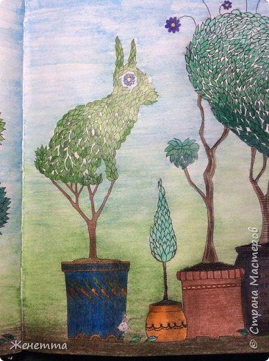 """Раскрашиваю акварельными карандашами """"Таинственный сад"""" фото 4"""