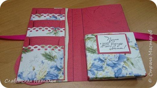 На 8 марта воспитателям в подарок внутри потайной кармашек для сертификата по 2пакетика чая в каждом кармашке и шоколад фото 16