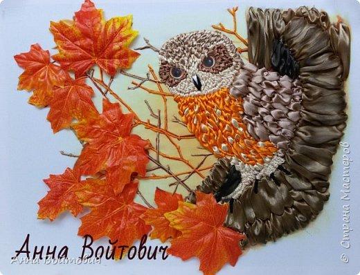 СОВА. Вышивка лентами. фото 1