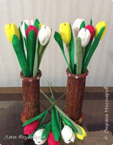 Добрый вечер дорогие жители  и гости страны мастеров!!! Поздравляю всех женщин с наступающим  праздником 8  Марта!!! Желаю всем здоровья, весеннего настроения, любить и быть любимыми и конечно всем больших творческих успехов!!! Вот такие сладкие букетики я приготовила своим близким и знакомым,так как у нас весна не скоро ещеи тюльпанчики еще только в июне зацветут. Плела из рекламок и только покрыла лаком, внутри разные конфетки. Для своей любимой доченьки, она очень любит тюльпаны. фото 3