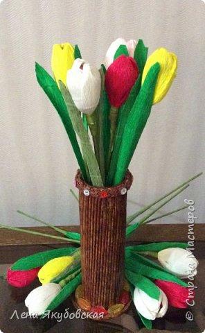 Добрый вечер дорогие жители  и гости страны мастеров!!! Поздравляю всех женщин с наступающим  праздником 8  Марта!!! Желаю всем здоровья, весеннего настроения, любить и быть любимыми и конечно всем больших творческих успехов!!! Вот такие сладкие букетики я приготовила своим близким и знакомым,так как у нас весна не скоро ещеи тюльпанчики еще только в июне зацветут. Плела из рекламок и только покрыла лаком, внутри разные конфетки. Для своей любимой доченьки, она очень любит тюльпаны. фото 5