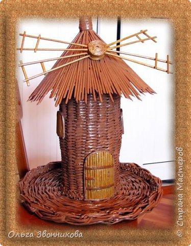 """Набор для вина """"Мельница"""" изготовлен из газетных трубочек. Плела ориентируясь на мастер -классы в YouTube. фото 1"""