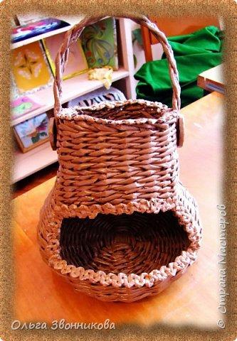 """Набор для вина """"Мельница"""" изготовлен из газетных трубочек. Плела ориентируясь на мастер -классы в YouTube. фото 3"""