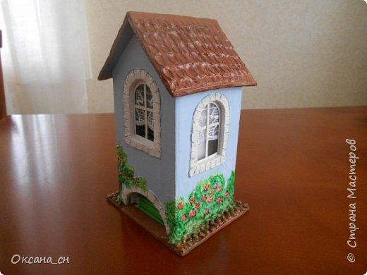 Здравствуйте Мастера и Мастерицы! Хочу поделиться новым изделием и небольшим МК. Когда пришла идея создать домик для чайных пакетиков, я стала искать в интернете идеи для оформления. Сколько прекрасных домиков я видела!  Я предложила своим ученицам создать такой домик в подарок маме к 8 Марта - прекрасная и полезная поделка для кухни. Спасибо Марине за идею оформления http://stranamasterov.ru/node/349655. Очень мне понравился её домик и я попробовала сотворить подобное. фото 13