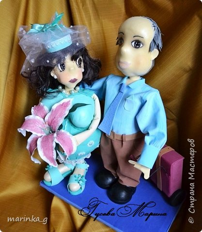 Это самая последняя моя работа.Попросили сделать на юбилей свадьбы… И я как всегда размахнулась)))Кукол сделала ростом 60 см. фото 6