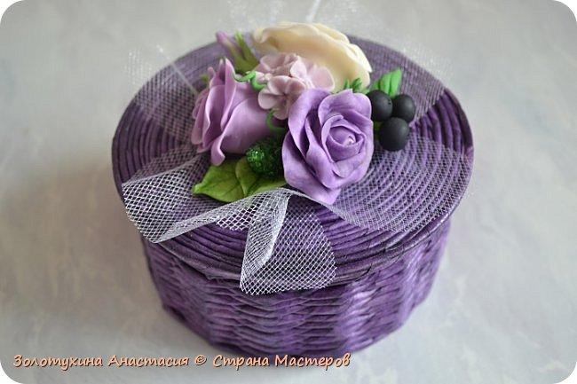 Шкатулочка с цветочным декором из холодного фарфора . фото 1