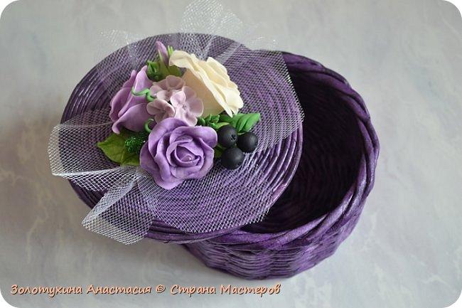 Шкатулочка с цветочным декором из холодного фарфора . фото 2