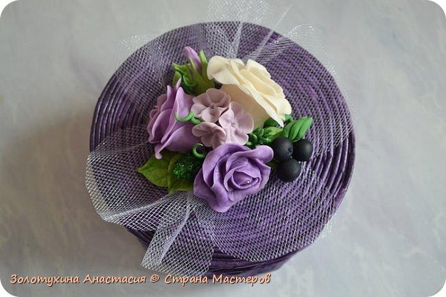 Шкатулочка с цветочным декором из холодного фарфора . фото 3