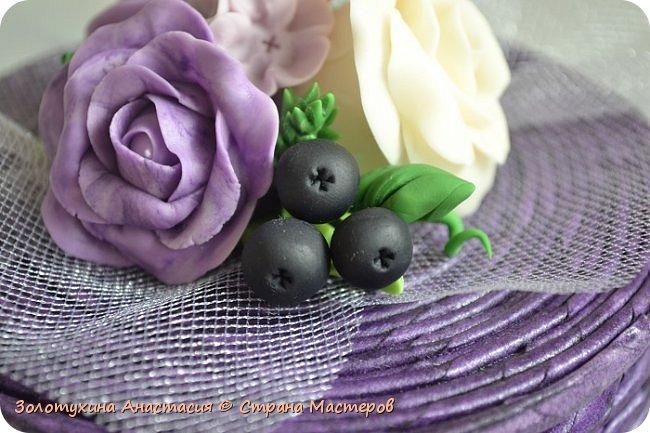 Шкатулочка с цветочным декором из холодного фарфора . фото 4
