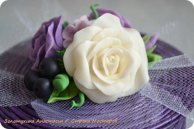 Шкатулочка с цветочным декором из холодного фарфора . фото 5
