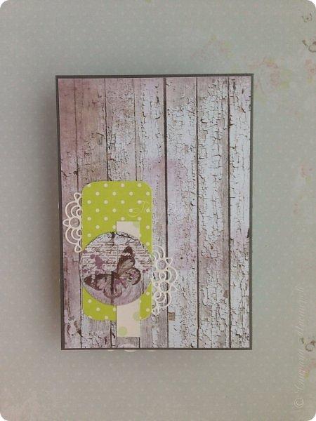 """Весенний кардмейкинг.  Заказы все раздала ( по условиям не могу показать), теперь творю  просто так:) Ой, нет, повод конечно есть, это 8 марта. Вот такая открытка со скворечником:) Бумага Fleur коллекция """"Цветы прованса"""", лист """"Старый забор"""" и горошки от ScrapBerry's (двухсторонняя) фото 4"""