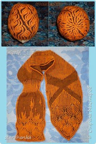 """Шапочка и шарф в технике БРИОШ (Brioche knitting)  Связала шапочку в новой для меня и придуманной кем-то не так давно, технике БРИОШ / Brioche knitting.  Комплект. Назвала """"Рыжая лиса"""". Похожа на лисий наряд, правда?  Очень увлекла меня эта техника. Знакомая незнакомка получилась.  Все знают и умеют вязать Английскую резинку. В технике Бриош используются английские (патентные) петли в разных сочетаниях, направлениях.  Причем вязать можно нитями разных цветов. Получается этакая интеграция английской резинки, патента, жаккарда/интарсии, двустороннего вязания, в одном флаконе.  Узоры разнообразны и интересны. Ими можно вязать шапки, шарфы, шали, кофты, пальто,... да всё, на что хватит фантазии.  Техника развивается, рукодельницы придумывают всё новые узоры, один другого интереснее.   Рыжая пряжа """"Камтекс"""" п/ш """"Соната"""". 250 м. - 100 гр. Коричневая из советских запасов - п/ш для ручного вязания """"64текс х 2"""", в 2 нитки Спицы 3,5 мм  фото 1"""