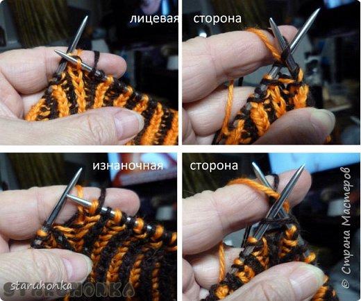 """Шапочка и шарф в технике БРИОШ (Brioche knitting)  Связала шапочку в новой для меня и придуманной кем-то не так давно, технике БРИОШ / Brioche knitting.  Комплект. Назвала """"Рыжая лиса"""". Похожа на лисий наряд, правда?  Очень увлекла меня эта техника. Знакомая незнакомка получилась.  Все знают и умеют вязать Английскую резинку. В технике Бриош используются английские (патентные) петли в разных сочетаниях, направлениях.  Причем вязать можно нитями разных цветов. Получается этакая интеграция английской резинки, патента, жаккарда/интарсии, двустороннего вязания, в одном флаконе.  Узоры разнообразны и интересны. Ими можно вязать шапки, шарфы, шали, кофты, пальто,... да всё, на что хватит фантазии.  Техника развивается, рукодельницы придумывают всё новые узоры, один другого интереснее.   Рыжая пряжа """"Камтекс"""" п/ш """"Соната"""". 250 м. - 100 гр. Коричневая из советских запасов - п/ш для ручного вязания """"64текс х 2"""", в 2 нитки Спицы 3,5 мм  фото 9"""