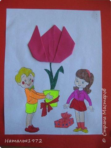 """Вот такими открытками поздравят своих мам ученики 2 """"Б"""" класса. фото 1"""
