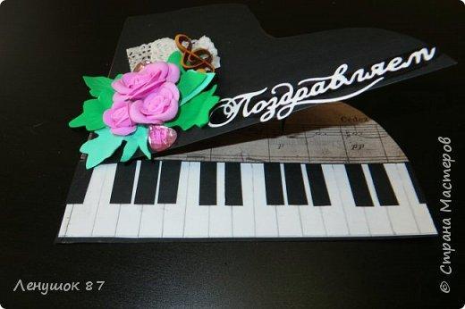 Всем привет!  Мой вдохновитель http://stranamasterov.ru/node/592875?c=favorite . Увидела, и решила, что нужно обязательно сделать открытку в дет. сад музыкальному работнику.  фото 3