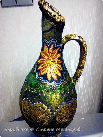 Всем доброго дня! Представляю продолжение серии ваз из стеклянных бутылок и папье маше. Но этот кувшин : гипс на воздушном шарике по МК Любови Подолинной. фото 1