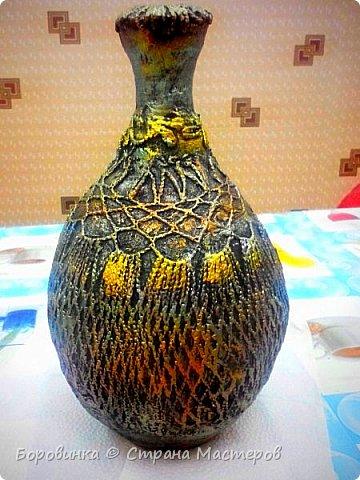 Всем доброго дня! Представляю продолжение серии ваз из стеклянных бутылок и папье маше. Но этот кувшин : гипс на воздушном шарике по МК Любови Подолинной. фото 2