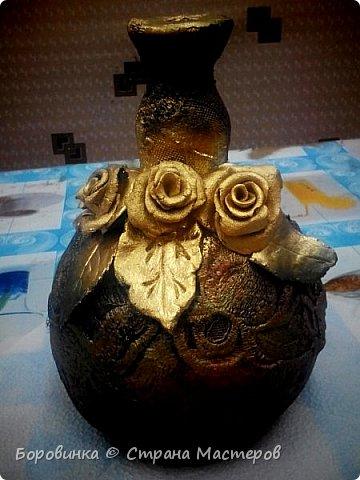 Всем доброго дня! Представляю продолжение серии ваз из стеклянных бутылок и папье маше. Но этот кувшин : гипс на воздушном шарике по МК Любови Подолинной. фото 4