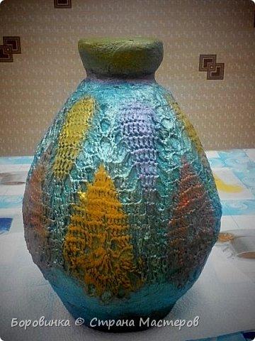 Всем доброго дня! Представляю продолжение серии ваз из стеклянных бутылок и папье маше. Но этот кувшин : гипс на воздушном шарике по МК Любови Подолинной. фото 8