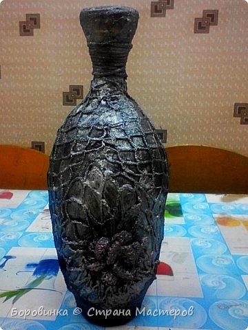 Всем доброго дня! Представляю продолжение серии ваз из стеклянных бутылок и папье маше. Но этот кувшин : гипс на воздушном шарике по МК Любови Подолинной. фото 11