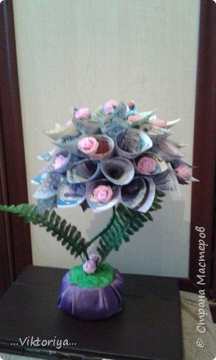 """Приветствую всех жителей страны!!! Хочу продемонстрировать вам своё новое денежное дерево,только решила его дополнительно """"обогатить"""" розами из фома.  фото 2"""