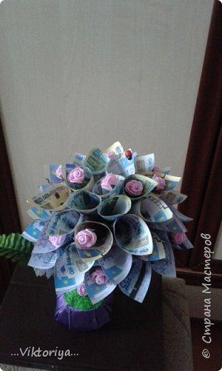 """Приветствую всех жителей страны!!! Хочу продемонстрировать вам своё новое денежное дерево,только решила его дополнительно """"обогатить"""" розами из фома.  фото 3"""
