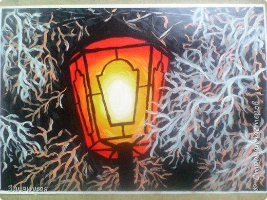 """Добрый день мастера и мастерицы, всех мастериц поздравляю с Праздником Весны, желаю всем удачи, хорошей погоды в доме и мирного неба над головой. Картина """"Фонарь"""", МК Варвары Осенней, очень сильно захотелось такой фонарь нарисовать, кажется получилось. Размер 20 на 30см. фото 1"""