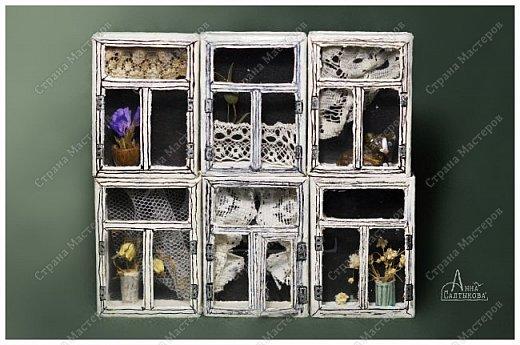 Окошки из спичечных коробков. Объемные, занавески и цветочки вклеены внутрь, имеются стеклышки из прозрачной пленки. фото 4