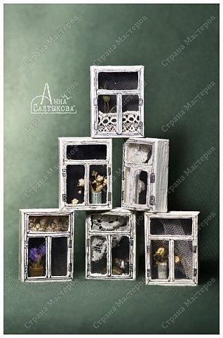 Окошки из спичечных коробков. Объемные, занавески и цветочки вклеены внутрь, имеются стеклышки из прозрачной пленки. фото 2