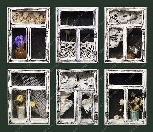 Окошки из спичечных коробков. Объемные, занавески и цветочки вклеены внутрь, имеются стеклышки из прозрачной пленки. фото 1