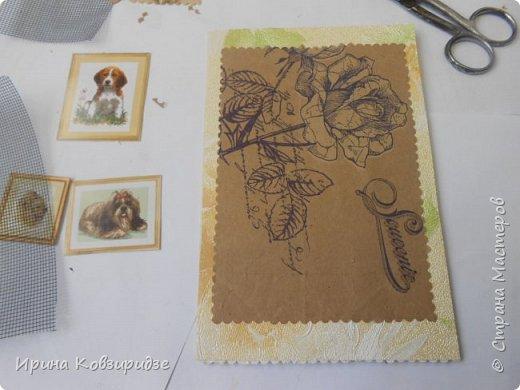 """Закончилась скрапбумага и нет многого другого, что нужно для создания открытки, а творить то хочется. Я делаю так, как покажу вам сейчас. Да простят меня Мастера - знатоки скрапбукинга! Я беру всё, что есть под рукой. Такую открытку я сделала сегодня. """"Собачки"""" - моя любимая тема. Тема возникла сама мо себе в процессе работы. фото 23"""
