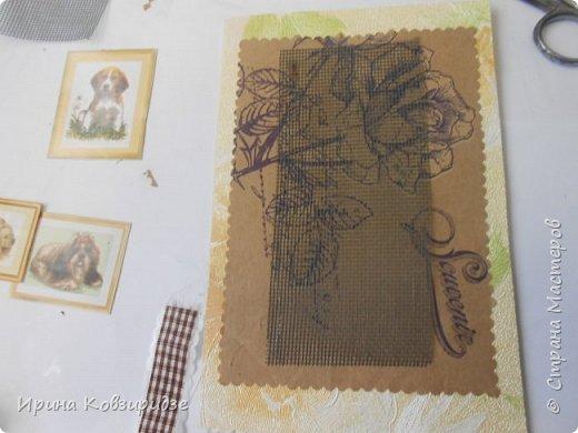 """Закончилась скрапбумага и нет многого другого, что нужно для создания открытки, а творить то хочется. Я делаю так, как покажу вам сейчас. Да простят меня Мастера - знатоки скрапбукинга! Я беру всё, что есть под рукой. Такую открытку я сделала сегодня. """"Собачки"""" - моя любимая тема. Тема возникла сама мо себе в процессе работы. фото 24"""